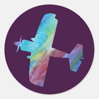 Rainbow Biplane Classic Round Sticker