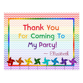 Rainbow Birthday Pinwheels Thank You Postcard