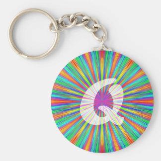 Rainbow Burst Monogram Q Key Ring