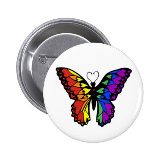 rainbow butterfly hearts 6 cm round badge