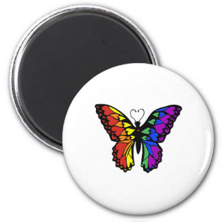 rainbow butterfly hearts 6 cm round magnet