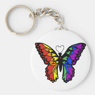 rainbow butterfly hearts basic round button key ring