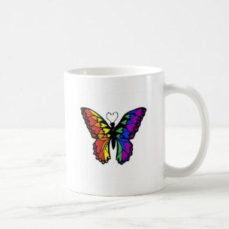 rainbow butterfly hearts basic white mug