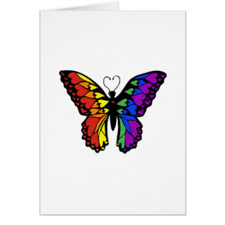 rainbow butterfly hearts greeting card