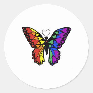 rainbow butterfly hearts round sticker