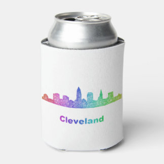 Rainbow Cleveland skyline Can Cooler