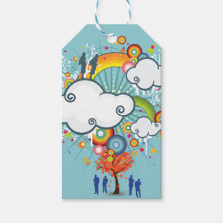 Rainbow Cloud People Gift Tag