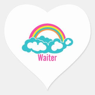 Rainbow Cloud Waiter Heart Sticker