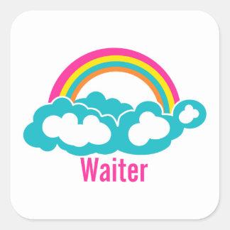 Rainbow Cloud Waiter Square Sticker