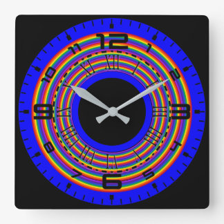 Rainbow Color Square Wall Clock