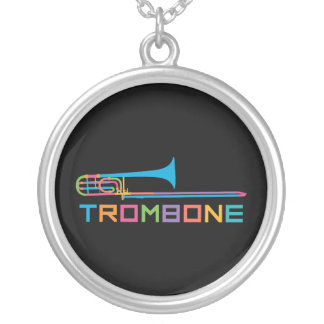 Rainbow Color Trombone Silver Plated Necklace