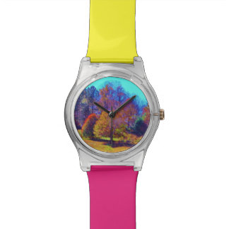 Rainbow colored field of trees watch