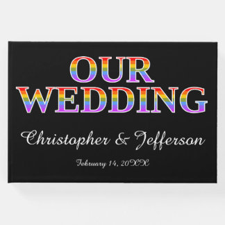 "Rainbow-Colored ""OUR WEDDING"" Wedding Guest Book"