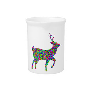 Rainbow Colored Prismatic Deer Art Pitcher