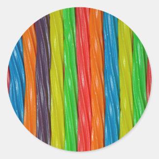 Rainbow coloured liquorice candy classic round sticker