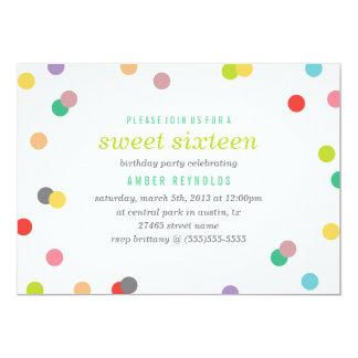 Rainbow Confetti Sweet 16 Invite