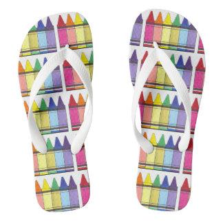 Rainbow Crayons Art Teacher Artist Color Flip Flop Thongs