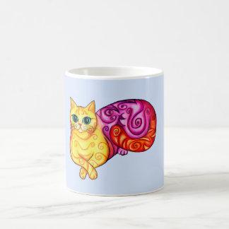 Rainbow Curly Cat Basic White Mug