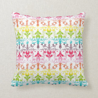 Rainbow distressed damask chandelier ombre pattern cushion