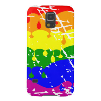 Rainbow Dripping Paint Distressed Galaxy S5 Cover