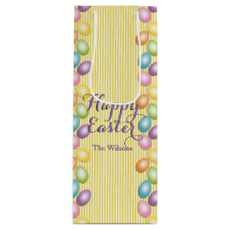Rainbow Eggs Name or Business Easter Wine Gift Bag