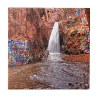 Rainbow Falls with Graffiti Small Square Tile