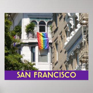 Rainbow Flag Flies Over San Francisco Poster
