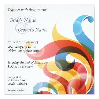 "Rainbow Flames Wedding Invite - 1 5.25"" Square Invitation Card"