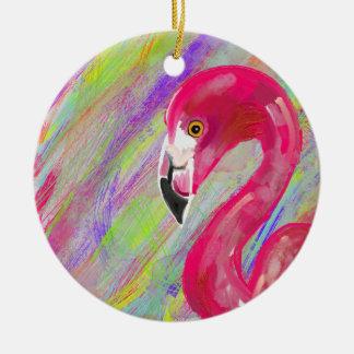 Rainbow Flamingo Print Christmas Ornament
