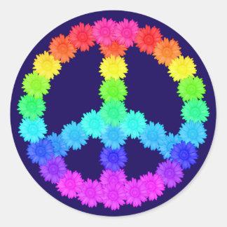 Rainbow Flower Peace Sign Sticker