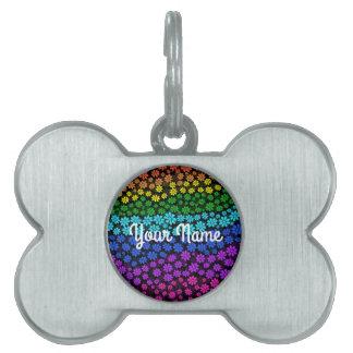 Rainbow Flowers Pet Name Tag