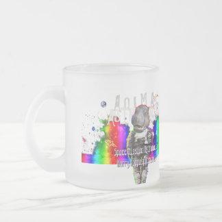 Rainbow Galaxy Space Hippo Animal Astronaut Frosted Glass Mug