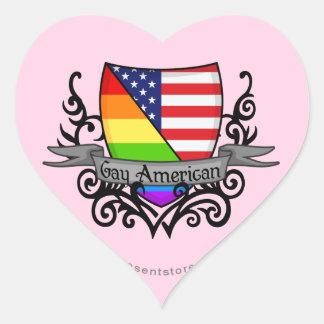 Rainbow Gay Lesbian Pride Shield Flag Heart Sticker