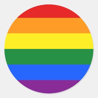 Rainbow Gay Lesbian Trans Queer LGBTQ Pride Flag Classic Round Sticker