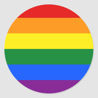 Rainbow Gay Lesbian Trans Queer LGBTQ Pride Flag Round Sticker