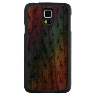 Rainbow giraffes walnut galaxy s5 slim case