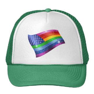 Rainbow Glitter American Flag Hat