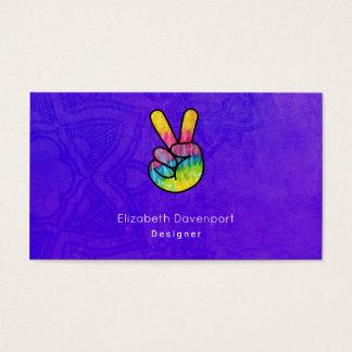 Rainbow Hand Peace Sign Acid Purple Background