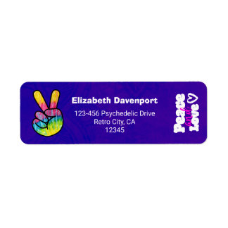 Rainbow Hand Peace Sign Peace and Love Typography Return Address Label