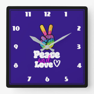 Rainbow Hand Peace Sign Peace and Love Typography Square Wall Clock