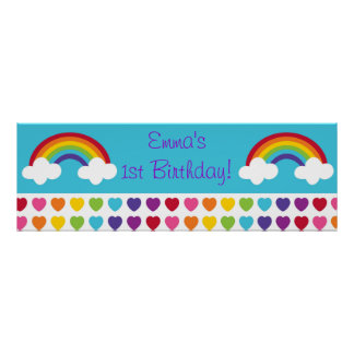 Rainbow Heart Birthday Personalised Banner Sign Posters