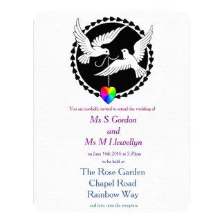Rainbow Heart Love Doves Lesbian Wedding Card