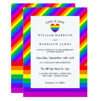 Rainbow Heart Love is Love Wedding Card