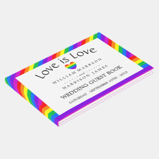 Rainbow Heart Love is Love Wedding Guest Book