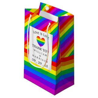Rainbow Heart Love is Love Wedding Small Gift Bag