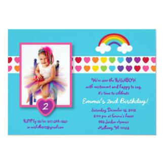 Rainbow Heart Photo Birthday Invitations