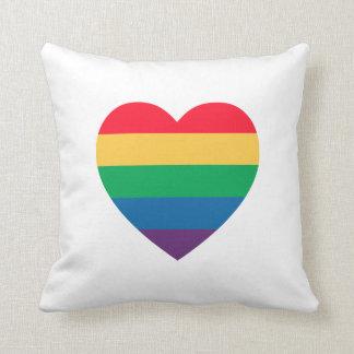 Rainbow Heart Pride Pillow Cushion