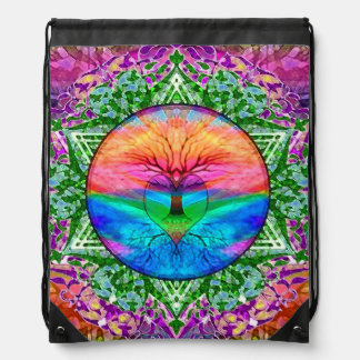 Rainbow Heart Tree Drawstring Bag