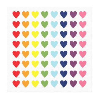 Rainbow Hearts Gallery Wrapped Canvas