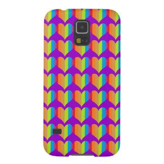 Rainbow hearts pattern on purple galaxy s5 cover